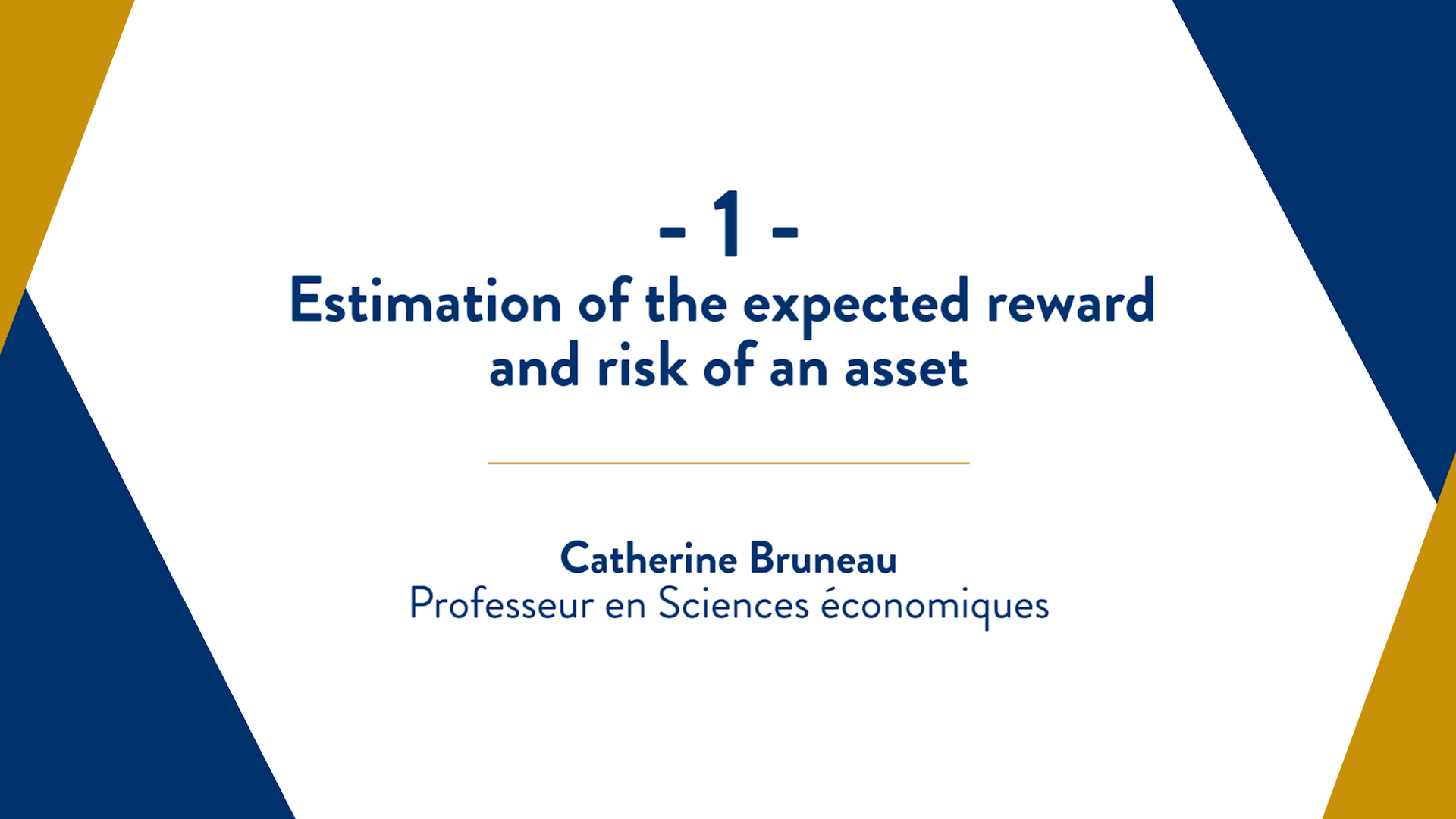 Capsule 1 : Estimation of the expected reward and risk of an asset