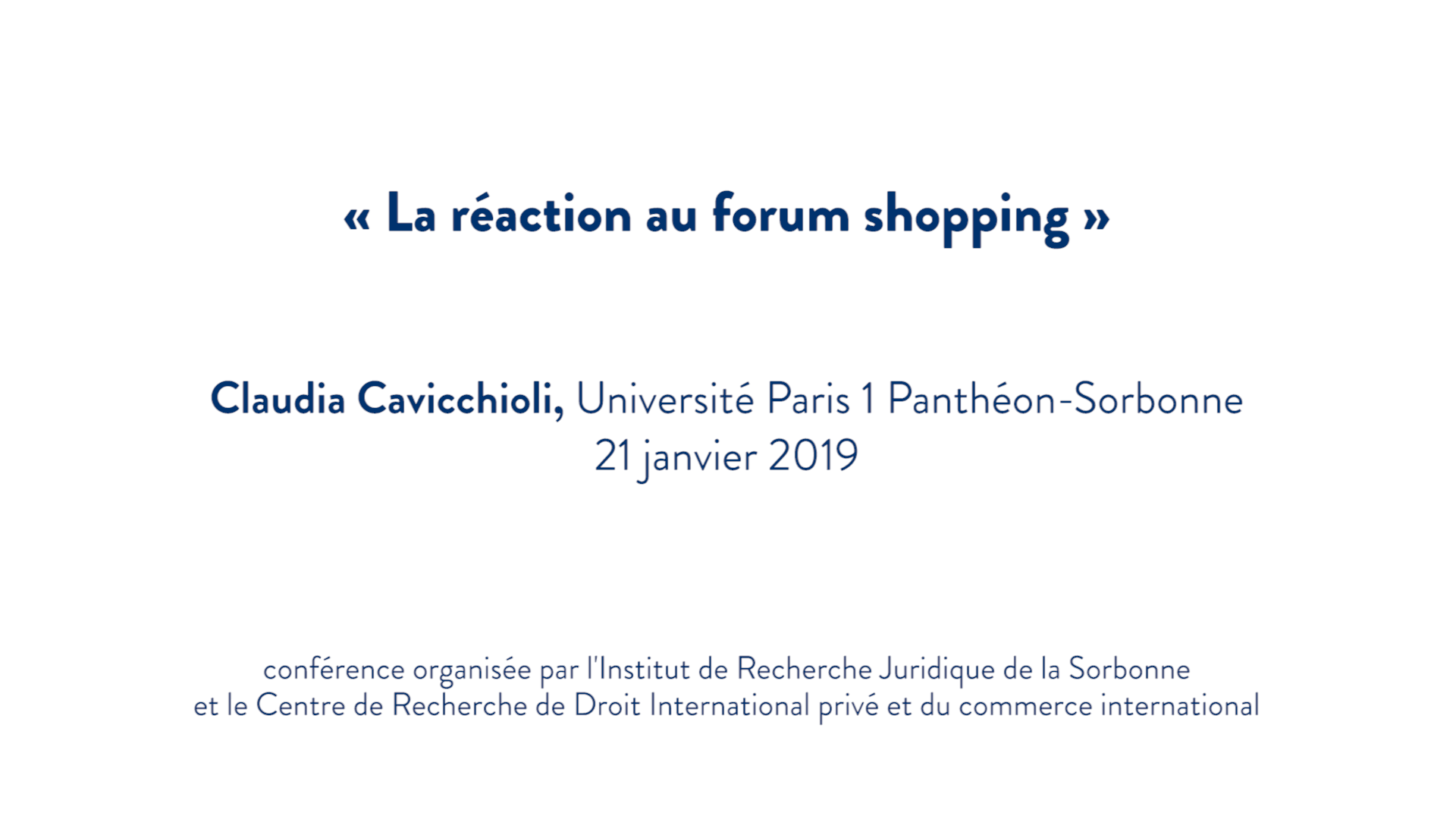 La réaction au forum shopping - Claudia Cavicchioli