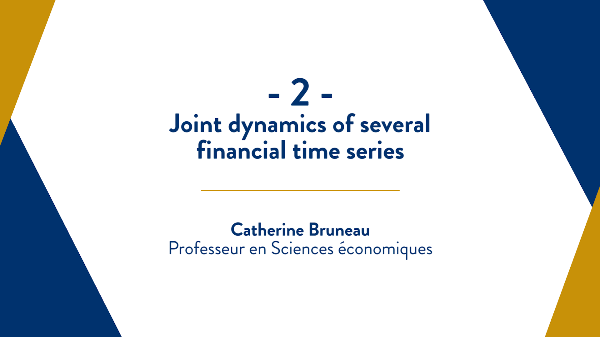 Capsule 2 : Joint dynamics of several financial time series