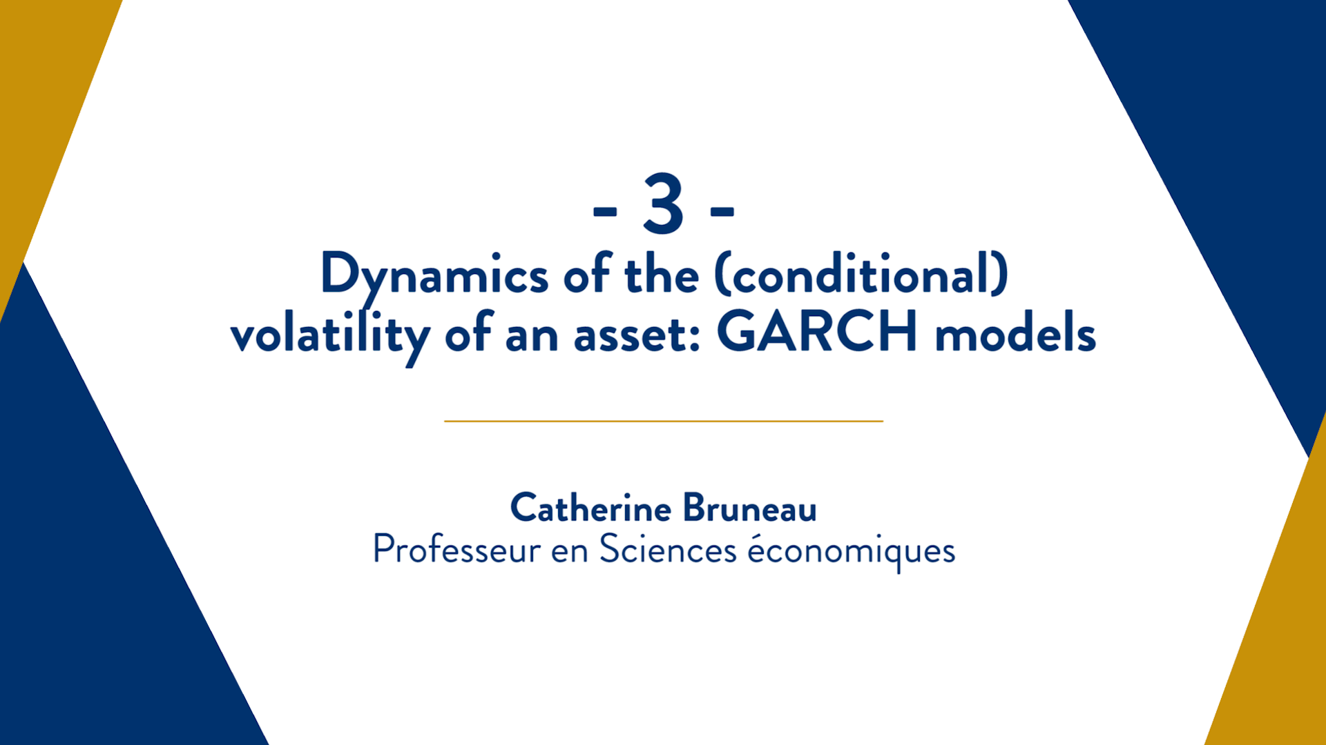Capsule 3 : Dynamics of the (conditional) volatility of an asset: GARCH models
