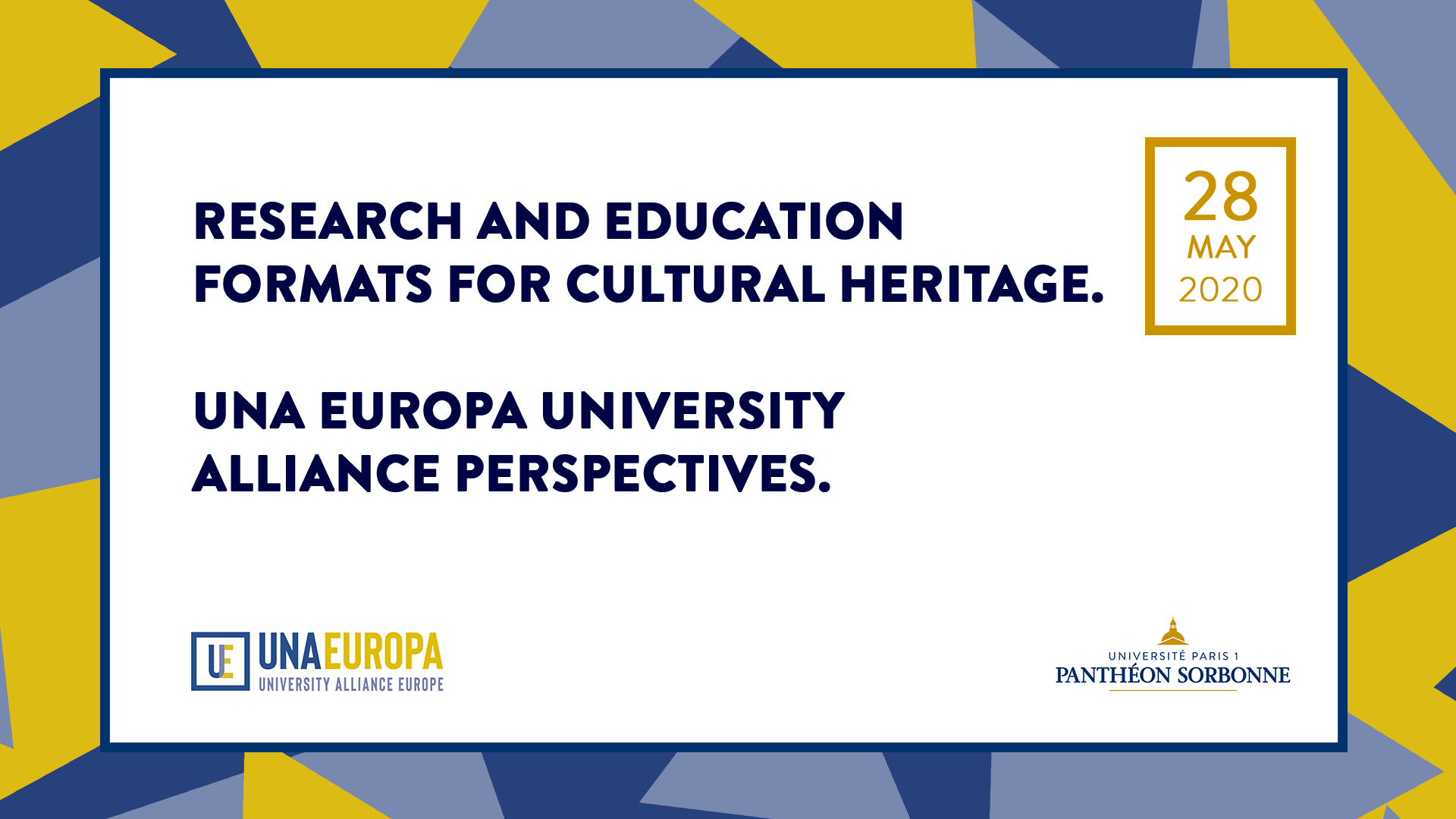 Research and Education Formats for Cultural Heritage. UNA Europa University Alliance Perspectives.